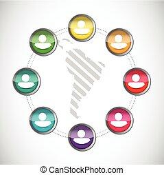 diversity along latin america. people network illustration design over a white background