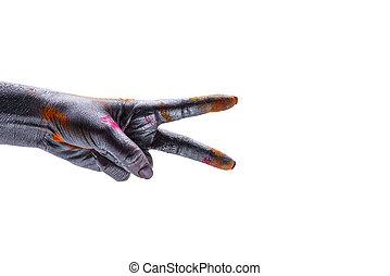 diversity., amor, femininas, cor, dois, difference., fim, everybody., peace., paz, dedos, unidade, branca, mostra, pontos, coloridos, símbolo, mão, fundo, prata, mulher, cima