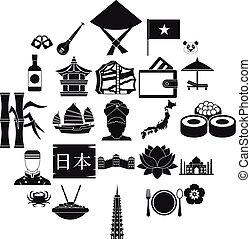 Diversity asia icons set, simple style