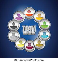 diversity, begreb, teamwork, illustration., folk