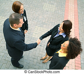 Diversity Business Deal - group of diversity business people...