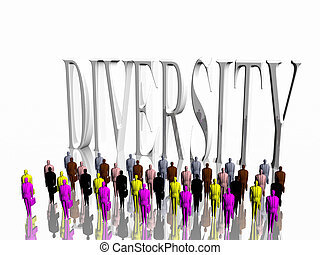 Diversity. - Businessmen in front of diversity sign over...