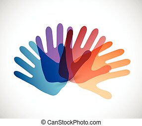 diversity color hands illustration design