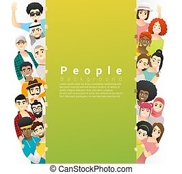 Diversity concept background , group of happy multi ethnic people standing behind empty colorful board 3