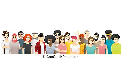 Diversity concept background , group of happy multi ethnic people standing together 3