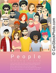 Diversity concept background , group of happy multi ethnic people standing together 5