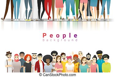 Diversity concept background , group of happy multi ethnic people standing together 6