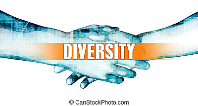 Diversity Concept with Businessmen Handshake on White...