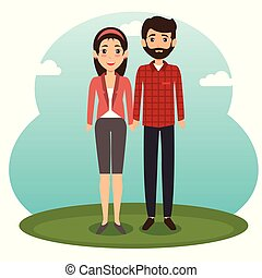 diversity couple standing design