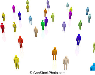 Diversity Crowd - 3D Illustration. Isolated on white.
