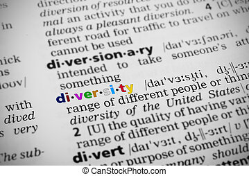 Diversity Defined in Dictionary. Each letter of the word is in different color.