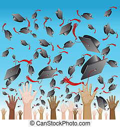 Diversity Graduation Day Cap Toss - An image of a diversity...