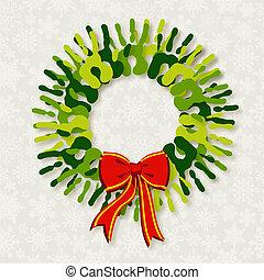Diversity green hands Christmas wreath.