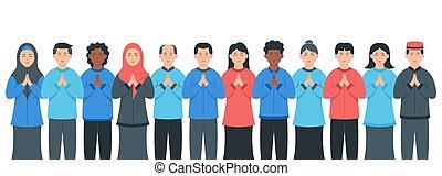 diversity., groupes, ou, social, groupe multiracial, divers, multiculturel, gens, population, ensemble., société, gens., sourire