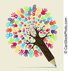 Diversity people hand concept pencil tree. Vector illustration layered for easy manipulation and custom coloring.