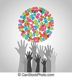 diversity hands design - diversity hands design, vector...