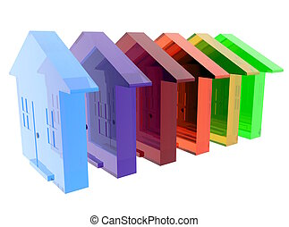 A conceptual image of diversity utilizing different houses.