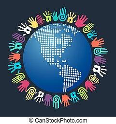 Diversity human hand America world map