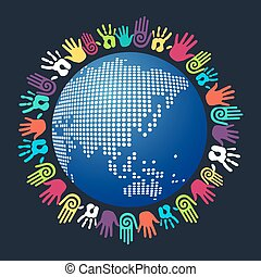 Diversity human hand Asian world