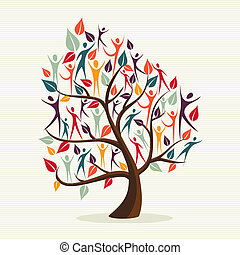 Diversity human leaves tree set - Family human shapes...