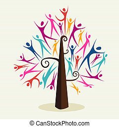 Diversity human tree set - Family human shapes colorful...