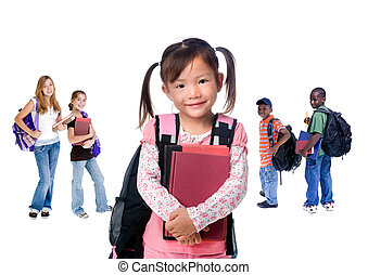 A group of diverse students ready for school