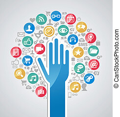Diversity internet technology hand tree
