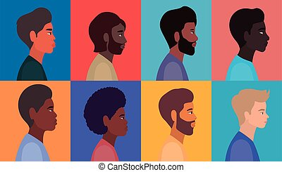 diversity men cartoons in multicolored frames background vector design