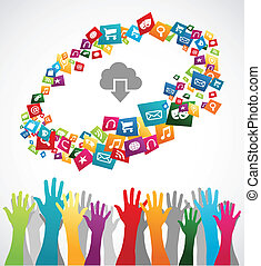 Cloud computing smartphone web applications icon set concept background. Vector illustration layered for easy manipulation and custom coloring.