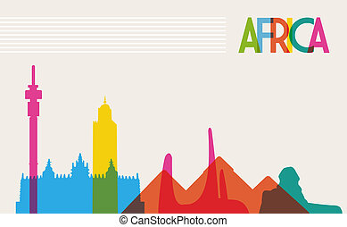 Diversity monuments of Africa, famous landmark colors transparency. Vector file organized in layers for easy editing.