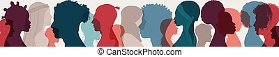 Diversity multiethnic people. Group side silhouette men and ...