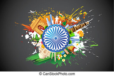 Diversity of India - illustration of monument and dancer...
