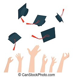 Diversity of People Holding Certificates and Throwing Graduation Caps