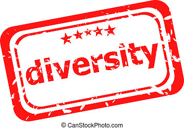 diversity on red rubber stamp over a white background