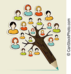 Diversity people concept pencil tree