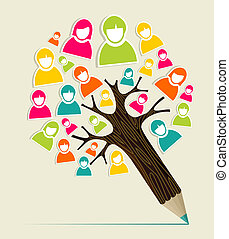 Diversity people concept pencil tree