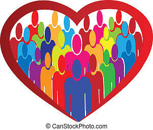 Diversity people heart logo vector