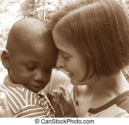 Diversity - Young Caucasian woman with African American...