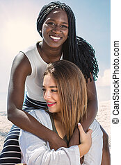 Diversity Portrait of two teen girlfriends.