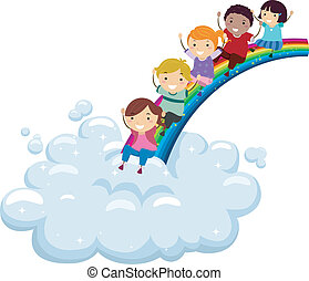 Diversity Rainbow - Illustration of Kids of Different...