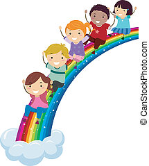 Diversity Rainbow - Illustration of Kids of Different...