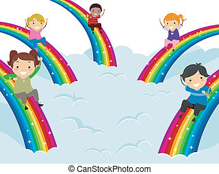 Diversity Rainbows - Illustration of Kids of Different...