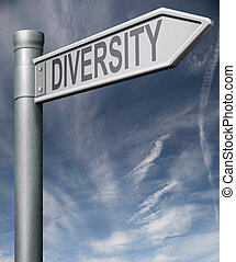 Diversity road sign with clipping path arrow pointing...