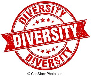 diversity round grunge ribbon stamp