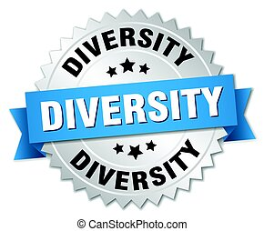 diversity round isolated silver badge
