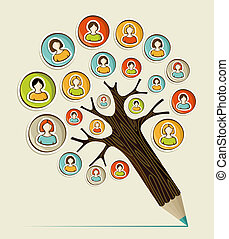 Diversity social people pencil tree