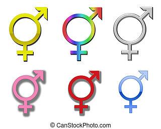 A selection of different colored diversity/transgender symbols