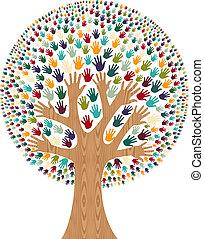 diversity, træ, isoleret, hænder