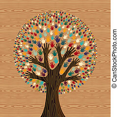 Diversity Tree hands over wood pattern - Diversity tree ...