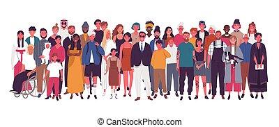 diversity., vieux gens, isolé, divers, ensemble., enfants, debout, hommes, groupe, jeune, arrière-plan., blanc, heureux, plat, dessin animé, femmes, illustration., multiculturel, multiracial, vecteur, social